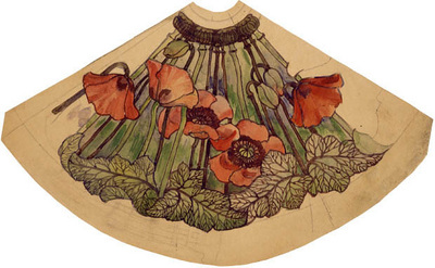 tiffany working drawing for poppy shade ca  1900