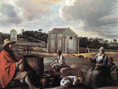 Le Nain Louis Landscape With Peasants And A Chapel