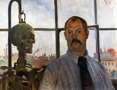 Corinth Lovis Self Portrait with Skeleton