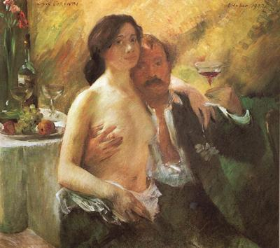 Corinth Lovis Self portrait with his Wife and a Glass of Champagne