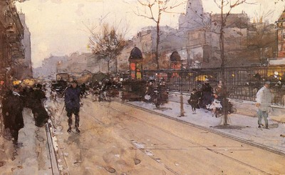Loir Luigi A Parisian Street Scene With Sacre Coeur In The