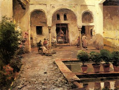 Garcia Y Rodriguez Manuel Figures In A Spanish Courtyard
