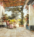 Rodriguez Manuel Garcia y Mother And Daughter Sewing On A Patio
