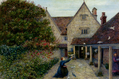 Stillman Marie Feeding The Doves At Kelmscott Manor Oxfordshire