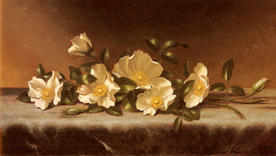 Heade Martin Johnson Cherokee Roses On A Light Gray Cloth