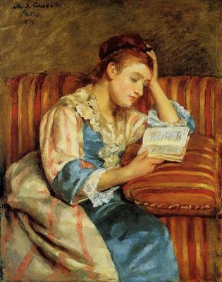 Cassatt Mary Mrs  Duffee Seated on a Striped Sofa Reading