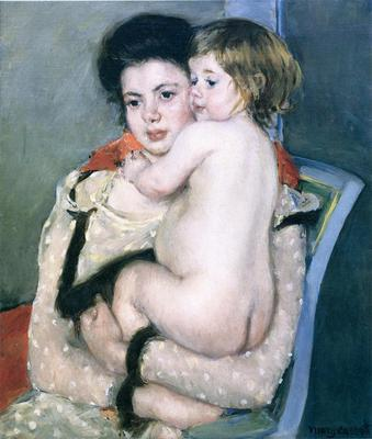 Cassatt Mary Reine Lefebvre Holding a Nude Baby
