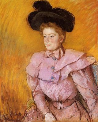 Cassatt Mary Woman in a Black Hat and a Raspberry Pink Costume