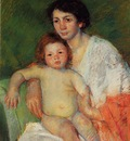 Cassatt Mary Nude Baby on Mother s Lap Resting Her Arm on the Back of the Chair