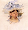 Cassatt Mary Sketch of Ellen Mary Cassatt in a Big Blue Hat