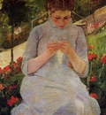 Cassatt Mary Young Woman Sewing in a Garden