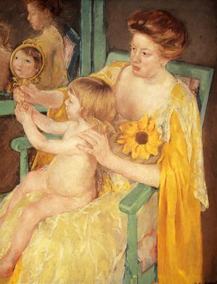 Cassatt Mary Mother Wearing A Sunflower On Her Dress