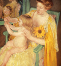 Cassatt Mary Mother Wearing A Sunflower On Her Dress