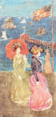 Prendergast Figures Under the Flag