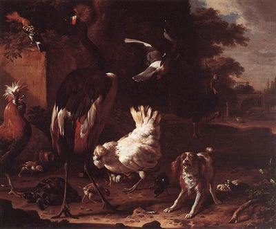 HONDECOETER Melchior d Birds And A Spaniel In A Garden