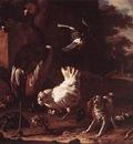 HONDECOETER Melchior d Birds And A Spaniel In A Garden