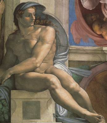 Michelangelo Sistine Chapel Ceiling Ignudi next to Separation of Land and the Persian Sybil2