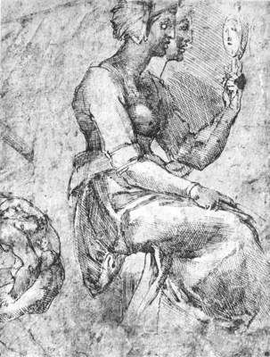 Michelangelo Study of a Seated Woman