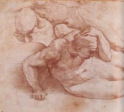 Michelangelo Two Figures red chalk
