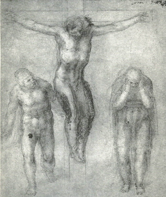 Study for Christ on the cross with Mourners