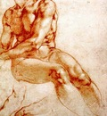 Michelangelo Male Nude Study red chalk