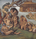 Michelangelo Sistine Chapel Ceiling Genesis Noah 7 9 The Flood left view