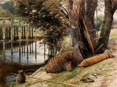 Foster Myles Birket Eel Pots On The banks Of A River