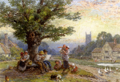 Foster Myles Birket Fugures And Children Beneath A Tree In A Village