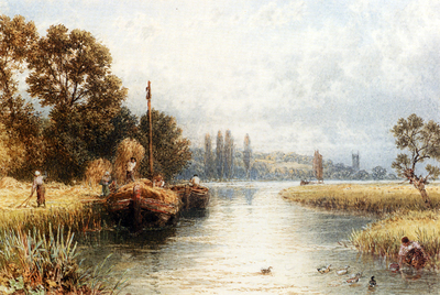Foster Myles Birket Loading The Hay Barges With A Young Woman Taking Water