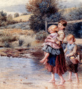 Foster Myles Birket Children Paddling In A Stream