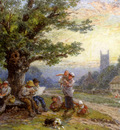Foster Myles Birket Fugures And Children Beneath A Tree In A Village