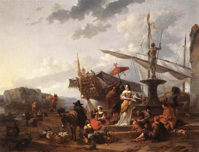 BERCHEM Nicolaes A Southern Harbour Scene