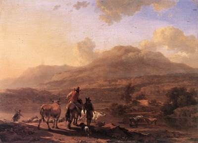 BERCHEM Nicolaes Italian Landscape At Sunset