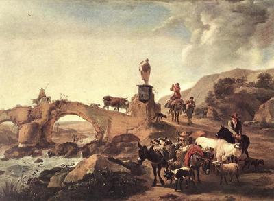 BERCHEM Nicolaes Italian Landscape With Bridge
