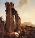 BERCHEM Nicolaes Peasants With Cattle By A Ruined Aqueduct