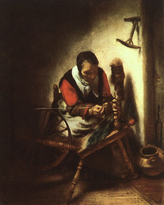 MAES Nicolaes A Woman Spinning