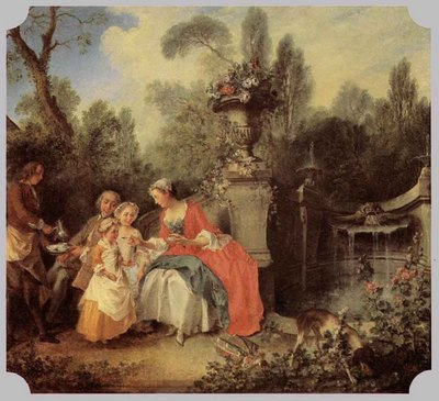 LANCRET Nicolas Lady And Gentleman With Two Girls And A Servant