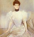 Helleu Paul Cesar Portrait Of Lady With A Fan