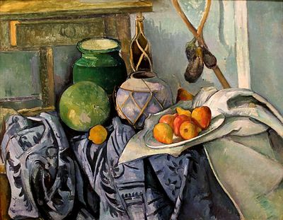cezanne still life with a ginger jar and eggplants mid