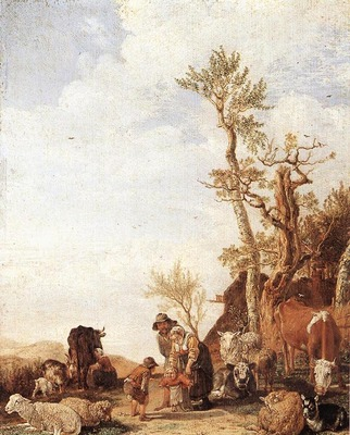 POTTER Paulus Peasant Family With Animals