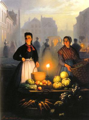 Schendel Petrus Van A Market Stall By Moonlight