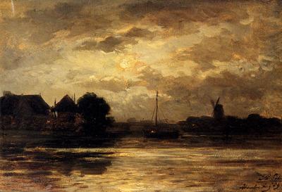 Sadee Philip Lodewijk Jacob View Of The Spaarne Haarlem By Moonlight