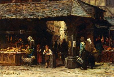 Sadee Philip Lodewijk Jacob frederik A Market Scene In Frankfurt