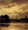 Sadee Philip Lodewijk Jacob View Of The Spaarne Haarlem By Moonlight