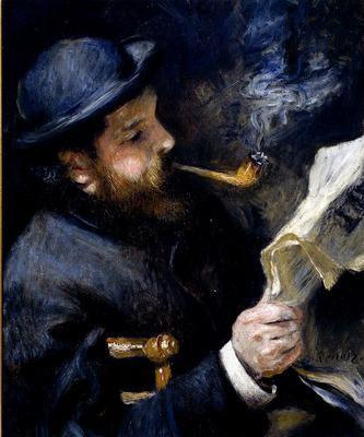 Renoir Pierre August Claude Monet Reading A Newspaper