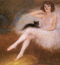Carrier Belleuse Pierre Ballerina With A Black Cat