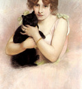 Carrier Belleuse Pierre Young Ballerina Holding A Black Cat