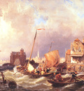 Shipping before a Dutch Harbour Town