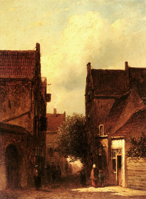 Vertin Petrus Garardus Street Scene With Figures Possibly Rotterdam