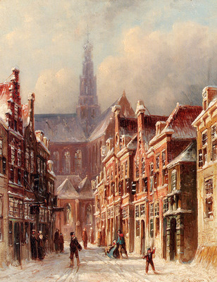 Vertin Petrus Gerardus A Snowy Street with The St Bavo Beyond Haarlem